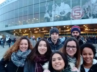 Exchange Students at Ice Hockey Match
